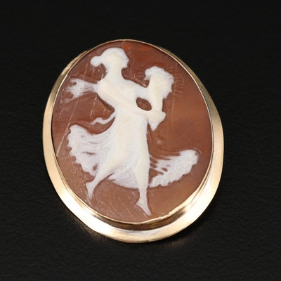 14K Helmet Shell Carved Cameo Brooch