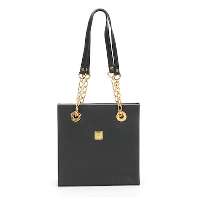 MCM Shoulder Bag in Black Textured Leather with Chain Link and Leather Straps