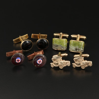 Vintage Assortment of Cufflinks Featuring Millefiori Glass