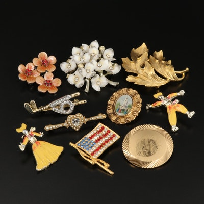 Collection of Vintage Rhinestone and Enamel Brooches Featuring Monet