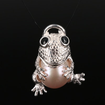 Sterling Silver Cultured Pearl and Sapphire Frog Pendant