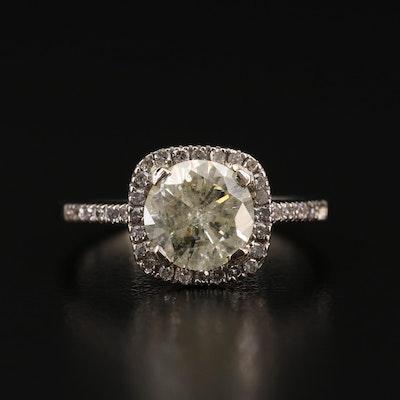 14K Diamond Ring Featuring 1.69 CT Round Brilliant Cut Diamond Center