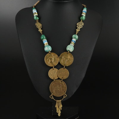 Peruvian Coin and Ceramic Beaded Necklace