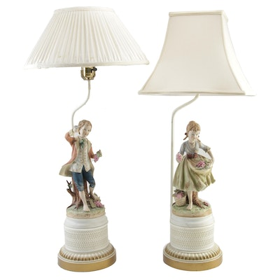 Pair of Baroque Style Porcelain Figural Table Lamps, Mid to Late 20th Century