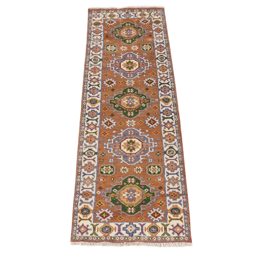 2'8 x 8'4 Hand-Knotted Indo-Caucasian Kazak Runner Rug