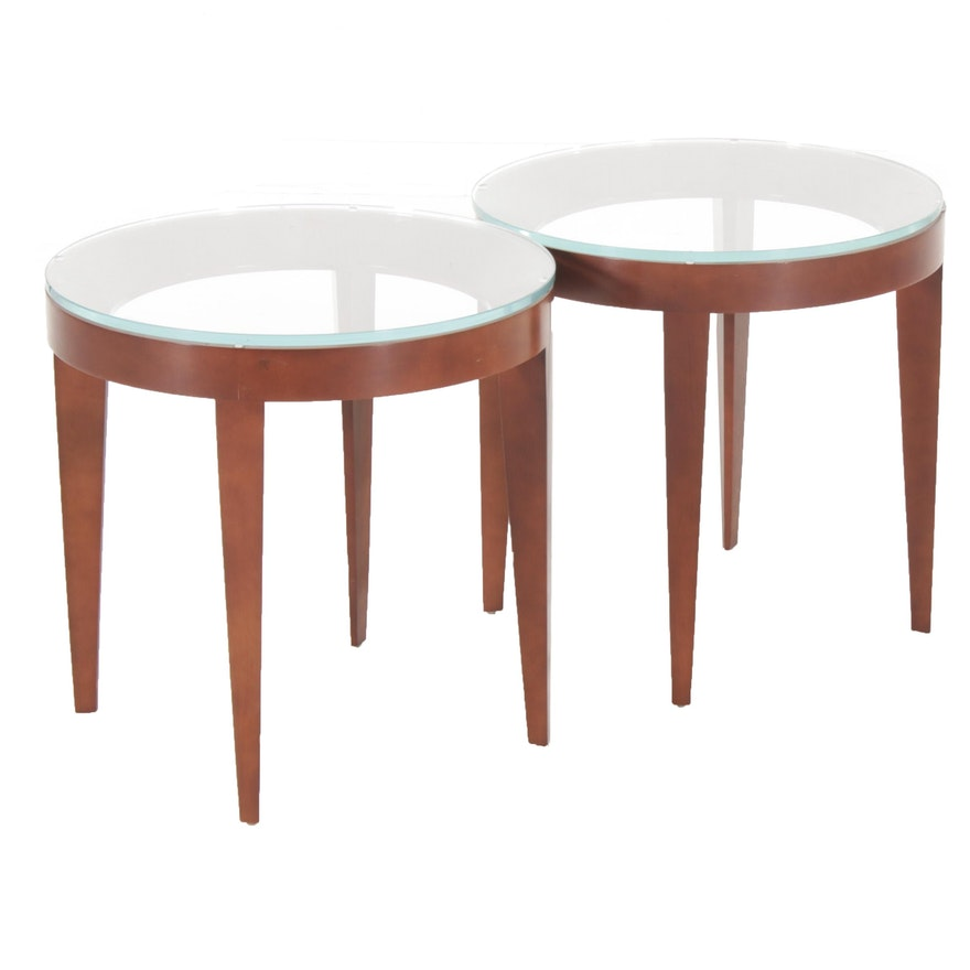 Pair of Bernhardt | design Glass Top Wood Side Tables