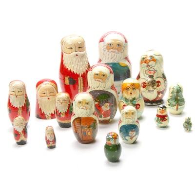 Three Handcrafted Santa Claus Themed Wooden Matryoshka Dolls