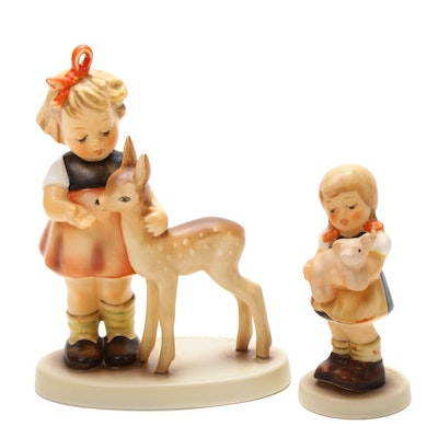 "Goebel ""Pigtails"" and ""Friends"" Porcelain Hummel Figurines"