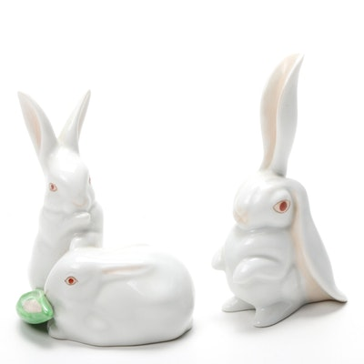Herend Natural Rabbit Porcelain Figurines