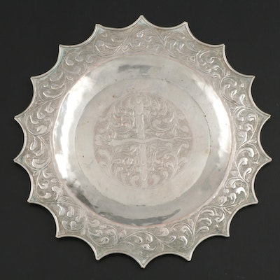 Repoussé and Chased Silver Plate Dish with Snake and Floral Arabesque Design