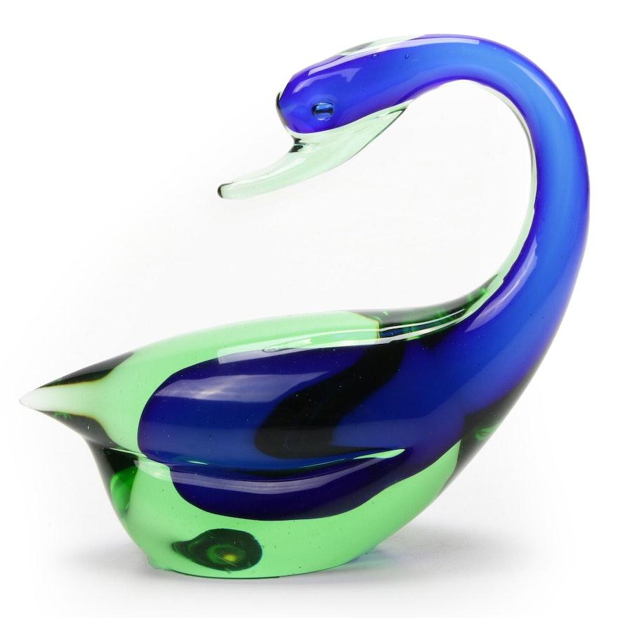 Seguso Murano Blue and Green Art Glass Swan, Mid-20th Century