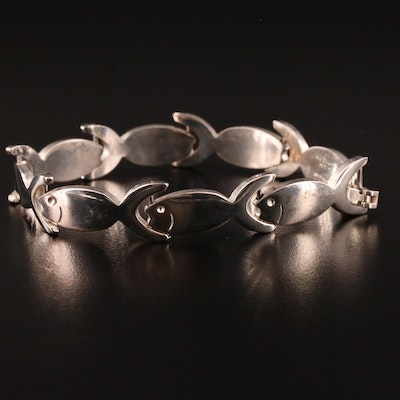 Mexican Sterling Silver Fish Link Bracelet