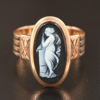 14K Gold Onyx Carved Cameo Ring