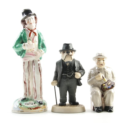 "Staffordshire ""Water and Gin"" Double Figurine with Winston Churchill Figurines"