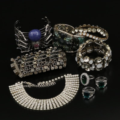 Faceted and Molded Glass Jewelry Selection Including Spider Themed Cuff Bracelet