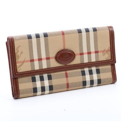 """Burberrys """"Haymarket Check"""" Coated Canvas and Leather Wallet"""