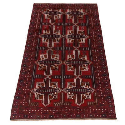 4'9 x 8'3 Hand-Knotted Afghani Baluch Rug, 2010s
