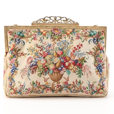 Floral and Fruit Compote Petit Point Purse with Openwork Frame