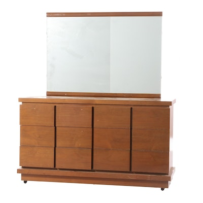 Mid Century Modern Walnut Dresser and Mirror, Mid-20th Century