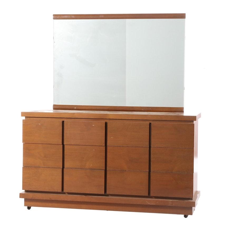 Mid Century Modern Walnut Dresser and Mirror, Mid-20th Century