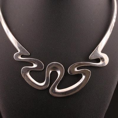 Dominique Dinouart Sterling Silver Wave Motif Choker Necklace