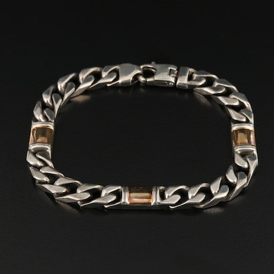 Gucci Sterling Silver Bracelet with 18K Gold Accents