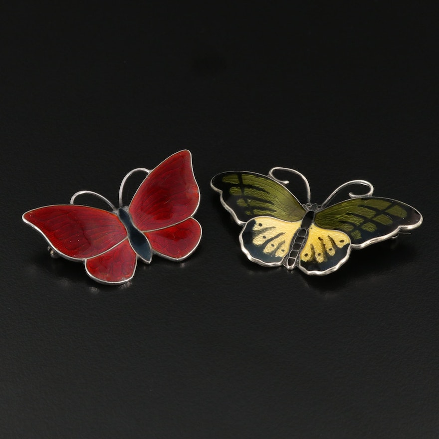 Scandinavian Volmer Bahner and Hroar Prydz Sterling Enamel Butterfly Brooches