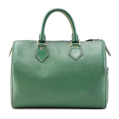 Louis Vuitton Speedy 25 Bag in Borneo Green Epi Leather