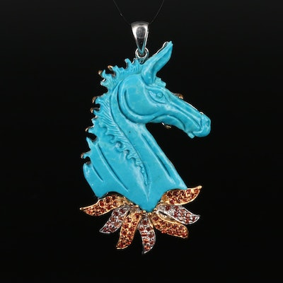 Sterling Silver Carved Turquoise and Sapphire Horse Pendant