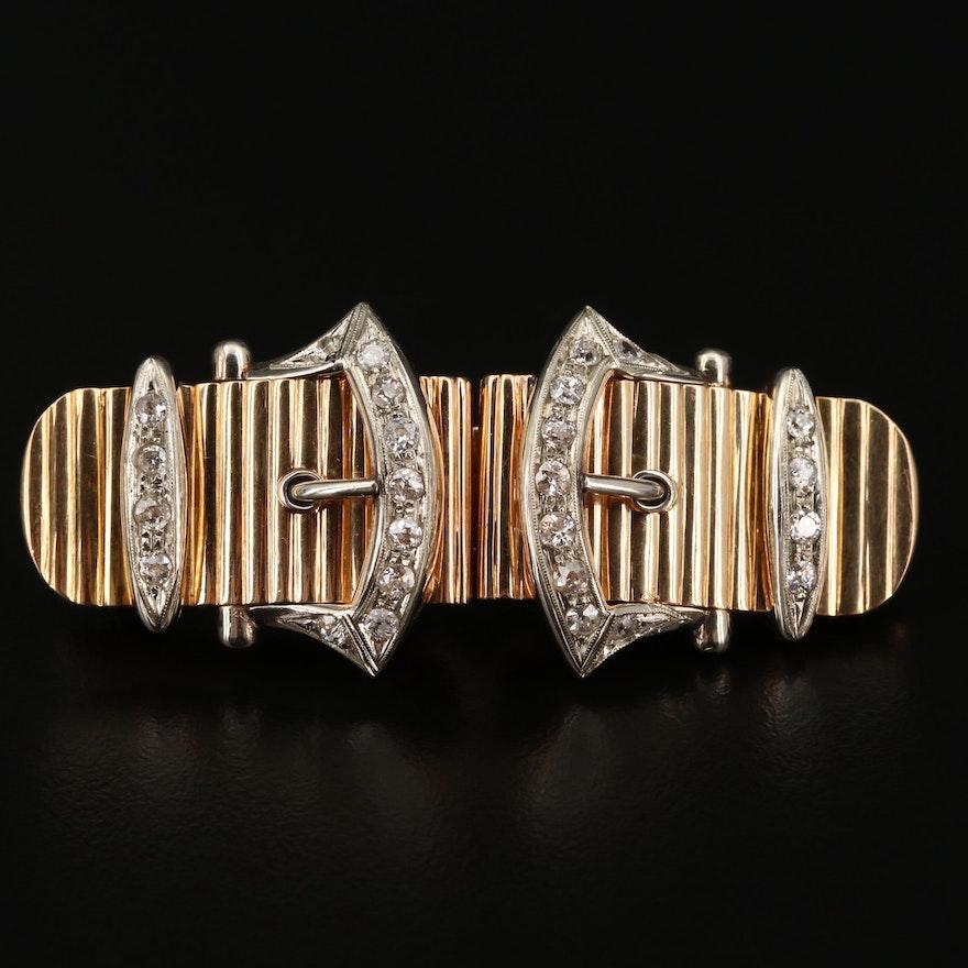 18K Gold 1.36 CTW Diamond Duette Buckle Brooch