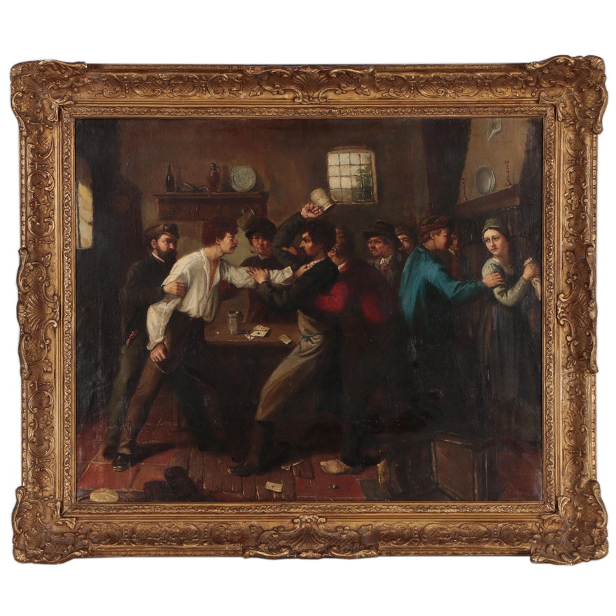 "Henry Perlee Parker Genre Scene Oil Painting ""Pub Brawl"", Circa 1850"