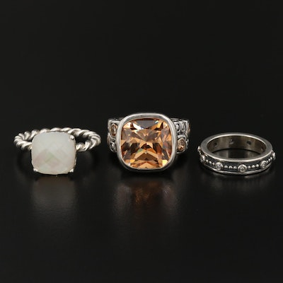 Sterling Silver Rings Featuring Pandora Twisted Ring and Bead Band