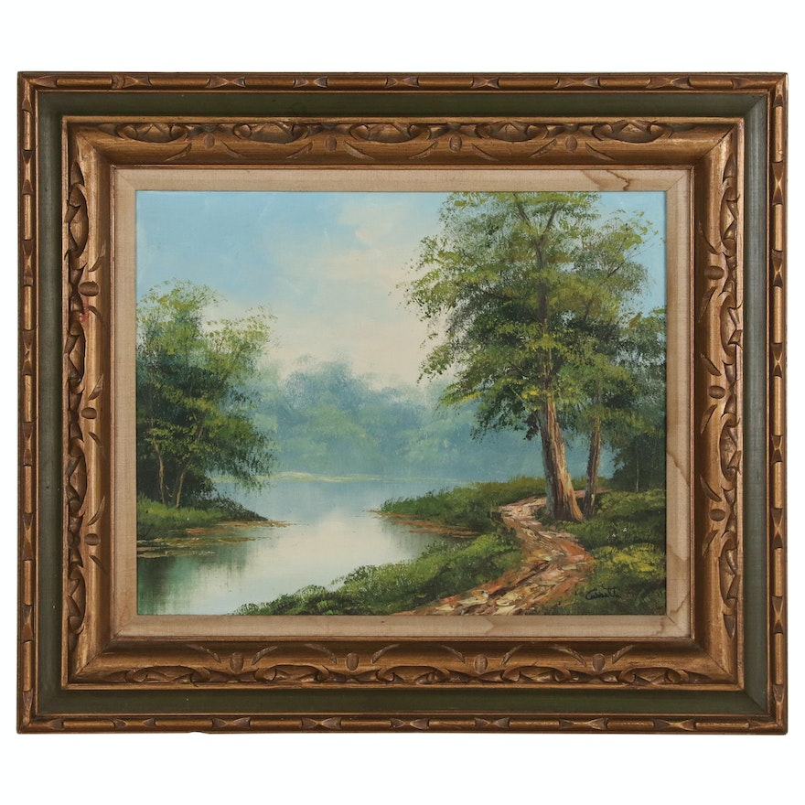 Anthony Cabbetti Lakeside Landscape Oil Painting, Late 20th Century