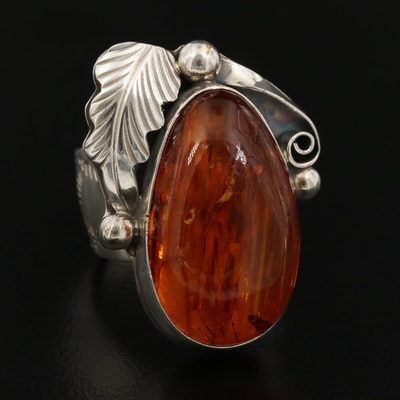 Lee Bennett Navajo Diné Sterling Amber Ring