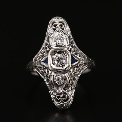 Edwardian 14K Diamond and Sapphire Ring