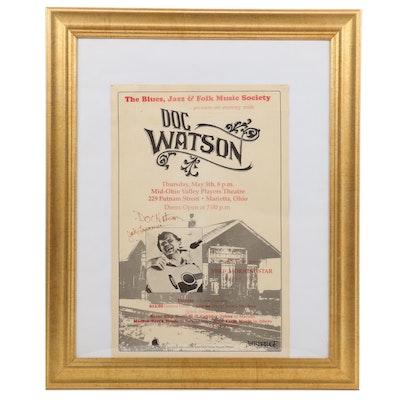 Doc Watson Signed Concert Poster, Marietta Ohio