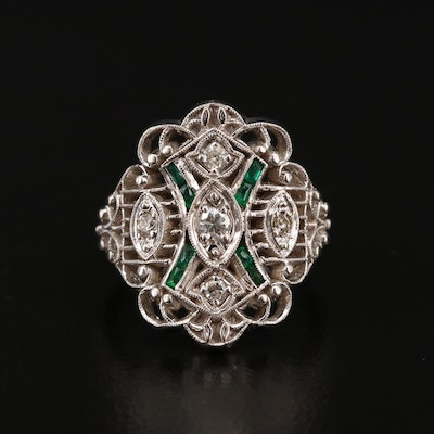 14K Diamond and Emerald Openwork Ring in the Edwardian Style