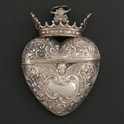 Victorian Crowned Heart Repoussé Coin Silver Household Chatelaine