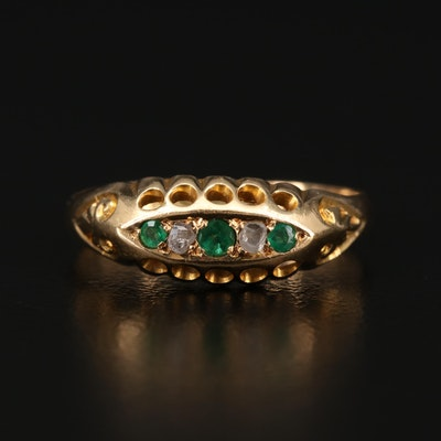 Antique British 18K Emerald and Diamond Navette Ring
