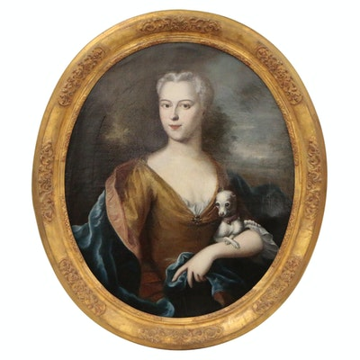 Oval Portrait Oil Painting, Possibly of Ulrika Eleonora Cronhielm