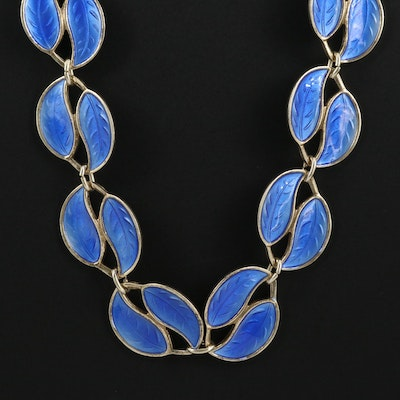 David Andersen Sterling Silver Blue Double Leaf Chain Necklace
