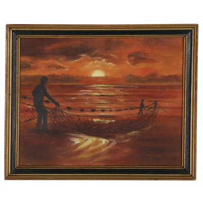 D. Walters Oil Painting, Late 20th Century
