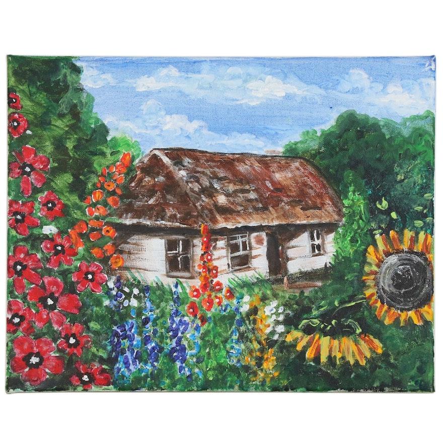 Acrylic Painting of Cottage, 21st Century