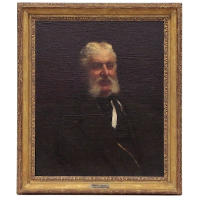 Eastman Johnson Portrait Oil Painting of Distinguished Gentleman, 1877
