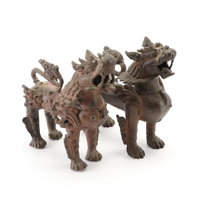 Sino-Tibetan Copper Alloy Guardian Lions