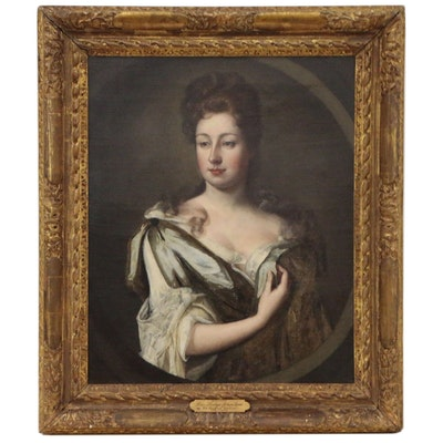 Manner of Sir Godfrey Kneller Oil Portrait of Lady, Late 18th Century