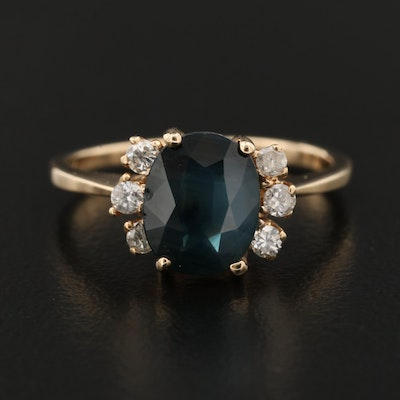 14K 1.54 CT Sapphire and Diamond Ring