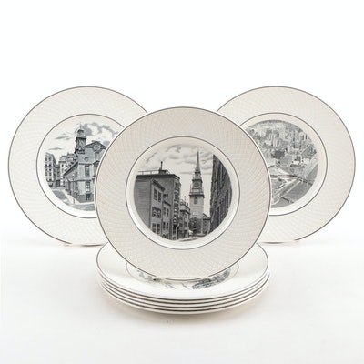 "Spode ""Mansard"" Transferware Dinner Plates with American Architecture, 1961–1967"