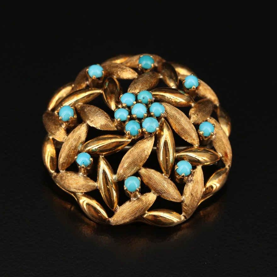 Vintage 18K Turquoise Brooch with Textured Finish