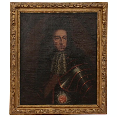 Oil Portrait of King William III in the Manner of Sir Godfrey Kneller